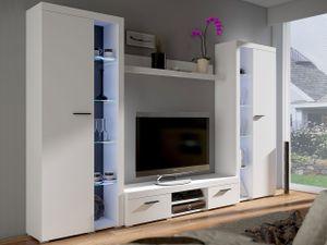 Mirjan24 Wohnwand Farso XL, Modernes Wohnzimmer-Set, Schrankwand, Stilvoll Mediawand, TV-Möbel (ohne Beleuchtung, Weiß)