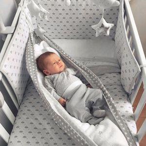 Baby Hängematte für Kinderbett Babywiege Babyhängematte Hängekorb Babyschaukel Baby Hang Bett -Graue Welle