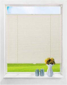 WOLTU Plissee Klemmfix ohne Bohren mit gleichfarbigem Zubehör Plisseerollo Jalousie für Tür & Fenster Blickdicht Creme 110x130 cm