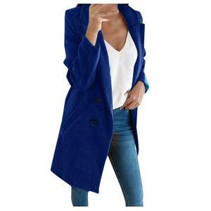 Frau langer Wollmantel Elegante Mischmäntel Schlanke weibliche lange Mantel Oberbekleidung Jacke Größe:M,Farbe:Blau
