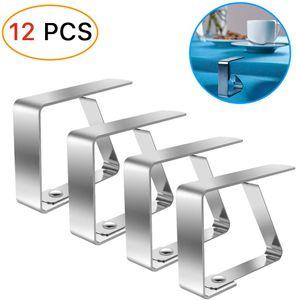 Tischdeckenklammer,Tischtuchhalter12 Stück,Tischdeckenklammer Edelstahl,Tischabdeckungsklemmen Silber,Tischtuchklammern Einstellbar,Clip tischdecke,Tischdeckenklammer fur 4cmTischplatten