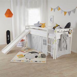 Homestyle4u 1434, Hochbett mit Rutsche, Etagenbett, Kinderbett Weiß, 90x200 cm