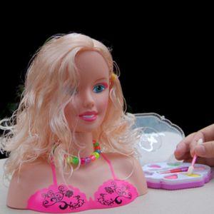 Mädchen Make Up Set Puppe Styling Kopf mit Kosmetik und Accessoires Spielset C 27x10x23cm Mehrfarbig