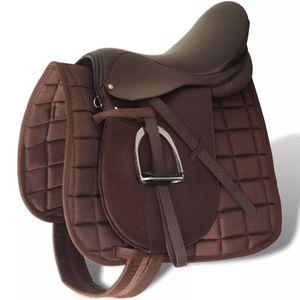 """vidaXL Pferdereiten Sattelset 17,5"""" echtes Leder braun 18 cm 5-in-1"""