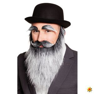 Boland bart mit Augenbrauen und Schnurrbart alter Mann Männer grau