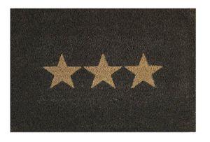 Kokos Fußmatte 40 x 60 cm Fußabtreter Schmutzfangmatte Kokosmatte Naturfaser  Stern dunkelgrau
