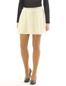 Swing Rock Mini hohe Taille Falten-Rock Gummibund Skirt Minirock cremeweiss XXL/3XL