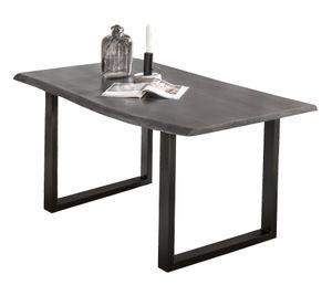 SIT Möbel Esstisch mit Baumkante   140 x 80 cm   Platte 36 mm Akazie antikgrau   Gestell Stahl antikschwarz   B 140 x T 80 x H 77 cm   07107-11   Serie TABLES & CO