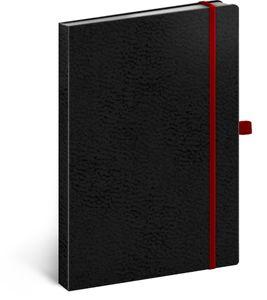 Bullet Journal Notizbuch A5 Dotted, Gepunktet Notizblock Notebook Sketchbook, Tagebuch für Erwachsene Vivella Classic (Schwarz/Rot)