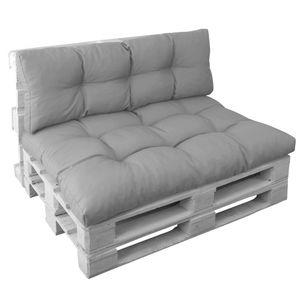 Palettenkissen Set Basix in Grau - Sitzkissen 120x80  cm und Rückenkissen 120x40 cm – Palettenauflagen Komplett-Set – Sitzpolster