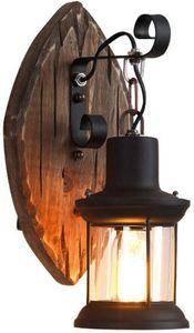 Retro Vintage Wandleuchte Wandleuchter Wandlampe Antik Kunst Industriell Holz Lampe Leuchte 220V E27