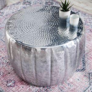 Eleganter Couchtisch MARRAKESCH 55cm silber mit Hammerschlag Design Beistelltisch Nachttisch