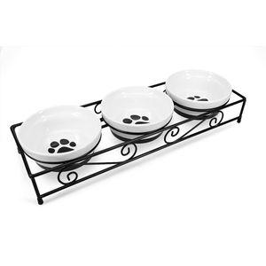 3x Fressnapf aus Keramik mit Metall Ständer