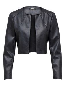 Damen ONLY Kunstleder Bolero Jacket ONLNEW FAWN Langarm Blazer Cropped Open Front Schulterjacke Elegant, Farben:Schwarz, Größe:36