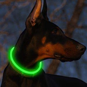 Blinkender LED Hundehalsband, LED Leuchthalsband USB wiederaufladbar Längenverstellbar- Haustier Sicherheit Kragen für Hunde und Katzen- 3 Modus,Grün