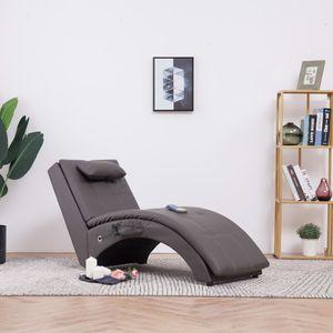 anlund Massage Chaiselongue mit Kissen Grau Kunstleder