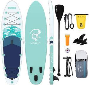 Urikar ®SUP Board Aufblasbar, Stand Up Paddling Board Set bis 150KG, SUP Zubehör Pumpe Paddel wasserdichte Tasche 3 x Finnen, Paddle Board Surfboard für Erwachsene Anfänger