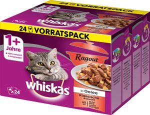 Whiskas Ragout Klassische Auswahl in Gelee 1+ (1-6 Jahre) - Katzen-Nassfutter; 24 x 85g