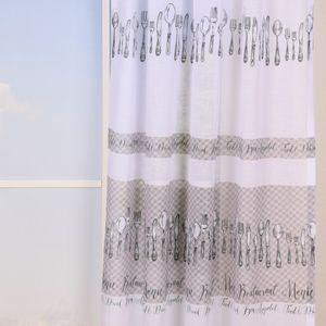 SCHÖNER LEBEN. Vorhang Gardine Bon Appetit Besteck weiß beige grau 245cm oder Wunschlänge