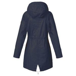 Damen Solid Rain Jacke Outdoor Jacken Kapuzenregenmantel Winddicht Größe:XXL,Farbe:Navy