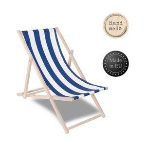 Liegestuhl Sonnenliege Campingstuhl Gartenliege Holz Liege klappbar verstellbar - blau/weiß