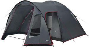 High Peak Familienzelt 4 Personen Campingzelt wasserdicht 3.000 mm Kuppelzelt mit breitem Vorbau grosses Platzangebot 190T Polyester PU, inkl. Tragtasche, einfacher und schneller Aufbau Dunkelgrau-rot