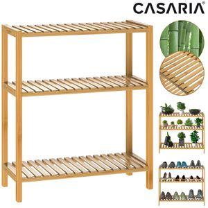 Casaria Standregal Badregal Schuhregal Bambus 3 Ablagen 66x58x26 cm Blumenregal Schuhe Küche Keller Bad Regal Holz