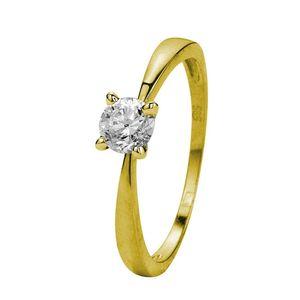 Solitär-Ring, 585 Gelbgold, mit Zirkonia -  58