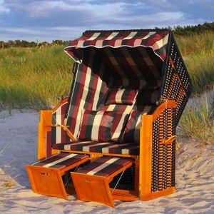 Strandkorb XXL inkl. Abdeckcover Luxus Volllieger Gartenliege Ostsee + 4 Kissen, Klapptische, Zeitungsfächer