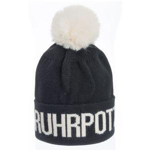 Stylische Ruhrpott-Mütze mit Bommel - Agneta - schwarz-weiß