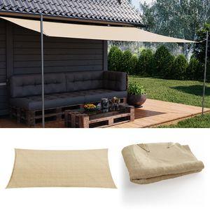 OSKAR Sonnensegel Rechteck 2x4m Beige Sonnenschutz Windschutz UV-Schutz HDPE