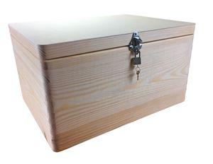 abschließbare Aufbewahrungsbox/ Holzkiste ohne Grifflöcher Kiefer, Gr. 3 (Schloss 2-silber)