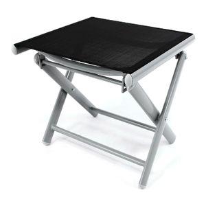 VCM Alu Hocker klappbar Sitzhocker - Textilene schwarz Rahmen hellgrau - Sitzhocker