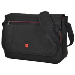 GERÄUMIGE Damen Herren Messenger Laptop Bag von KEANU :: Notebook-Fach Organizerfach großes Hauptfach 13 Liter :: Business Arbeits-Tasche Flugumhänger Umhängetasche KANTON Eindhoven (Pure Black)