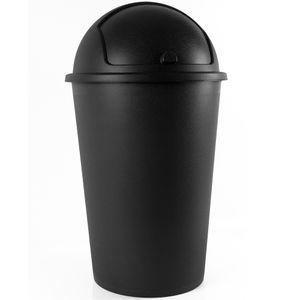 Deuba Mülleimer 50 L Abfalleimer mit Schiebedeckel Abnehmbar Müllbehälter Kunststoff Abwaschbar Küche Büro Robust, Farbe:schwarz - black - noir