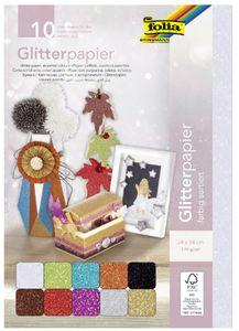 folia Glitterpapier 170 g/qm 240 x 340 mm farbig sortiert 10 Blatt