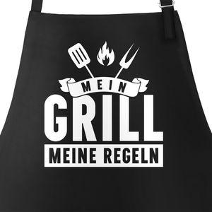 Grill-Schürze für Männer mit Spruch Mein Grill meine Regeln Grillregeln grillen BBQ Barbeque Baumwoll-Schürze Küchenschürze Moonworks® schwarz unisize