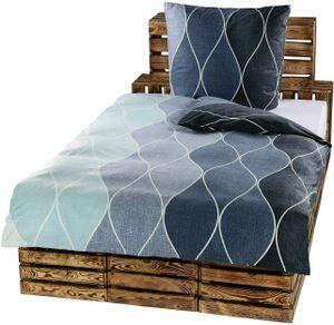 2-tlg Mikrofaser Bettwäsche Set Bettgarnitur Bettbezug Bett 135x200 Kissenbezug 80x80 Schlafzimmer Modern Geometrisch NEU Grau Jeans Blau