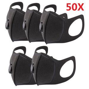 50X wiederverwendbare Masken Mundmaske Schwammmaske mit 1 Atemventil Waschbare staubdichte Gesichtsmundabdeckung