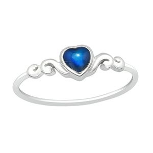 "Stimmungsring Silber 925 Mood Ring ""Herz"", Ringgrösse:52 (16.5 mm Ø)"