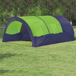 Campingzelt CampFeuer Tunnelzelt 6 Personen Stoff Blau/Grün