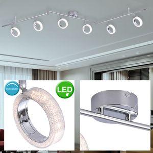 LED Deckenleuchte mit Kristalloptik Ringen und Spots