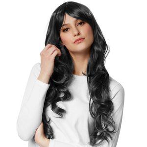 dressforfun Perücke Lange Haare Locken - schwarz