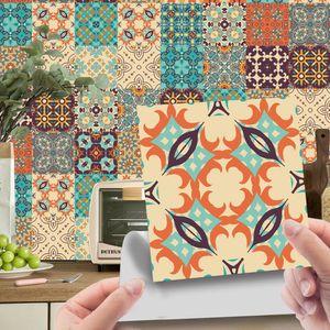 24 Stück wasserdichte Fliesenaufkleber selbstklebend Heim Wand Dekoration,Farbe: 8# Khaki Blumen,Größe:20x20cm
