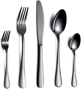 Schwarzes Besteck/Besteck Set, 6 Stück Edelstahl Messer Gabel Löffel Set für 6 Personen (schwarz, 6 Sets)