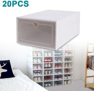 20x Schuhkarton Schuhbox Schuhaufbewahrung  Schublade   transparenter Kunststoffbehälter Stapelbar Plastikbehälter Schuhkästen mit Deckel Allzweck Groß Stapelbox