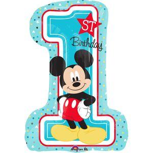 folienballon Mickey's 1st Birthday 48 x 71 cm blau
