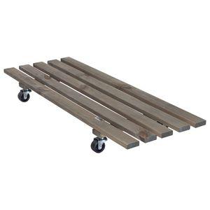 WAGNER Pflanzenroller DOUBLE 79 x 29 x 8,5 mm, außen & innen, Massivholz geriffelt, grau, Tragkraft 150 kg, EU Ware - 20087901