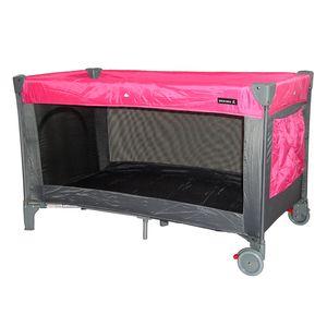 Zekiwa Reisebett, Größe 120x60 cm ,  mit Ausstieg und Laufrollen, und 2. Liegeebene, mit Matratze und Tragetasche, Dessin: Pink
