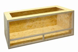 Elmato 12025 Holzterrarium Terrarium Schildkröten Reptilien, komplett montiert, 150x60x60cm
